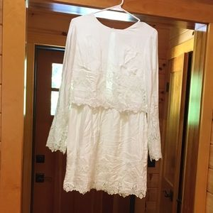 The Jet Set Diaries- Long sleeve white lacy dress